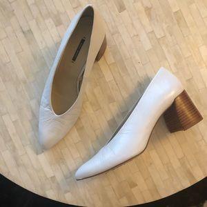 Zara White block heels